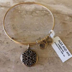 Alex and Ani endless knot bangle gold tone NWT